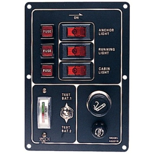 Fused 3 Way Vertical Switch Panel with Gauge/Cigarette Lighter - 422310