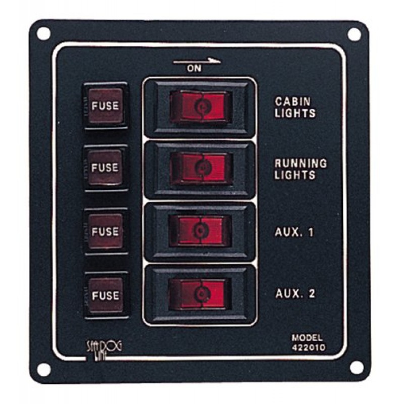 fused 4 way vertical switch panel 422010 rh yachtbits com GE Fused Switches Fused Switch Symbol