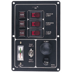 Fused 3 Way Vertical Switch Panel with Horn Button/Battery Indicator - 422510