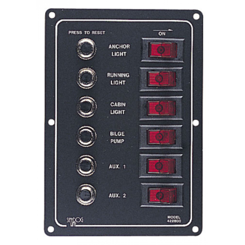 6 way vertical circuit breaker switch panel 422800. Black Bedroom Furniture Sets. Home Design Ideas