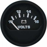 Uflex Volt Meter 10-16v DC Gauge 52mm 12v - Black - 47232