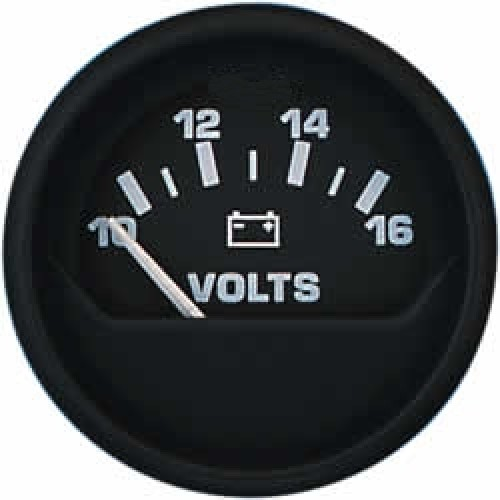 Uflex Volt Meter 20-32v DC Gauge 52mm 24v - Black - 47233