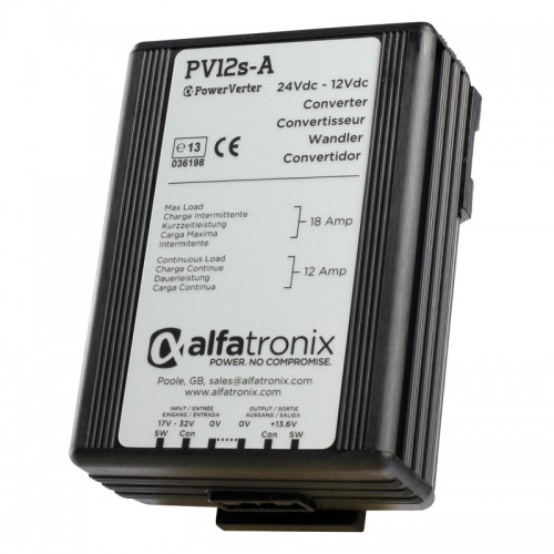 Alfatronix PowerVerter 24v to 12v non-isolated 12A Dual Converter PV12s-A