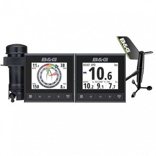B&G Triton² Speed-Depth-Wind Pack with 2 Displays and Wireless Wind Sensor - 000-14957-002