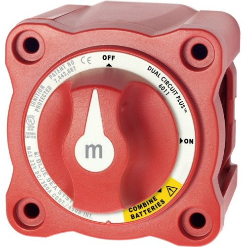 Blue Sea m-Series Mini Dual Circuit Plus Battery Switch 6011 - 26011