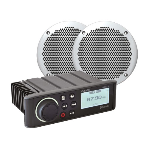 "Fusion RA70N Bundle with EL602 6"" Slimline Marine Speakers - RA70NKT"