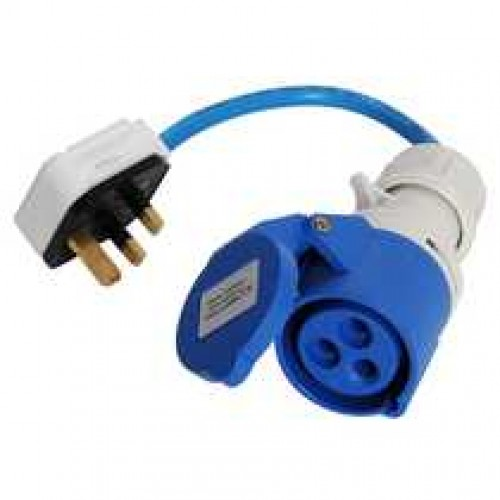 Shore Supply Socket 16A Blue to 13A Mains Plug