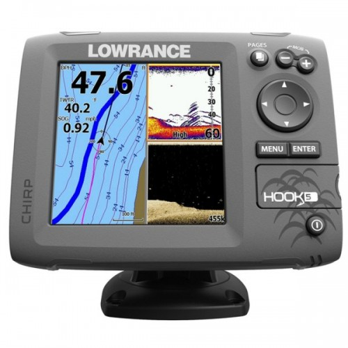 Lowrance Hook-5 Mid/High Range Chirp/DownScan Sounder With Transom Transducer - 000-12656-001