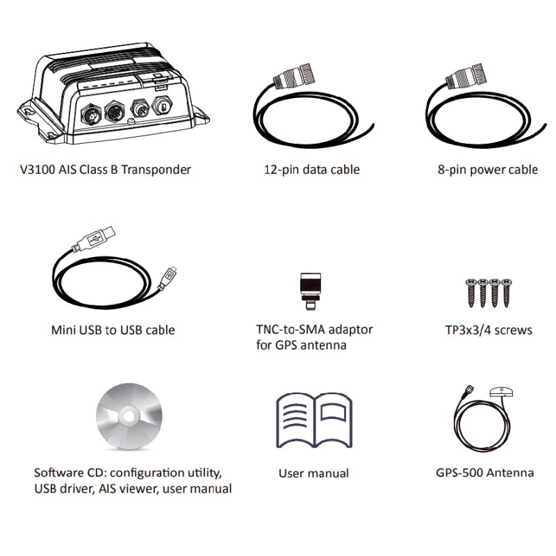Navico V3100 Class B SOTDMA AIS Transceiver with GPS Antenna